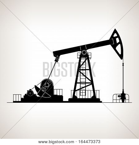 Silhouette Pumpjack or Oil Pump also Called Oil Horse Pumping Unit Gasshopper Pump Big Texan or Jack Pump Overground Drive for a Reciprocating Piston Pump in an Oil Well