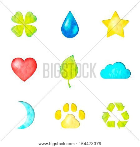 Set of nature symbols icon: clover, waterdrop, star, heart, green leaf, cloud, moon, paw, recycling sign