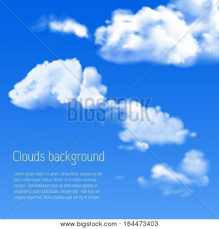 Blue sky with white clouds. Vector background