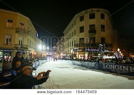 ZAGREB, CROATIA - JANUARY 4th, 2017 : Ski race of overall winners of the FIS World Cup on the ski slope in Bakaceva street, on the road from the cathedral to the main square. Audience on the ski slope.