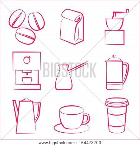 Coffee beans, cups, grinder and french-press icons