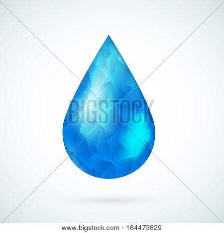 Blue raindrop  water symbol geometric vector background.