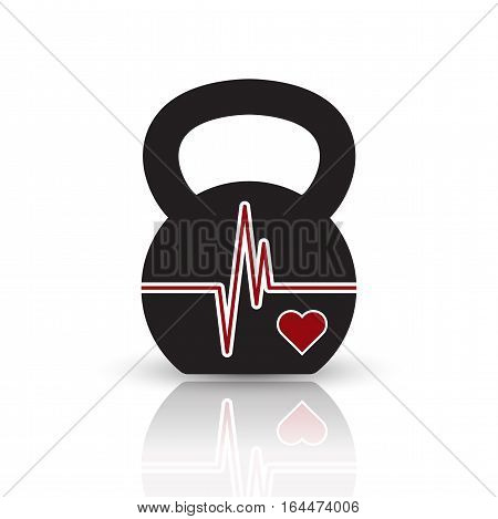 Vector kettlebell icon with red shape of EKG (heartbeat diagram). Black pictogram with reflection on the white background.