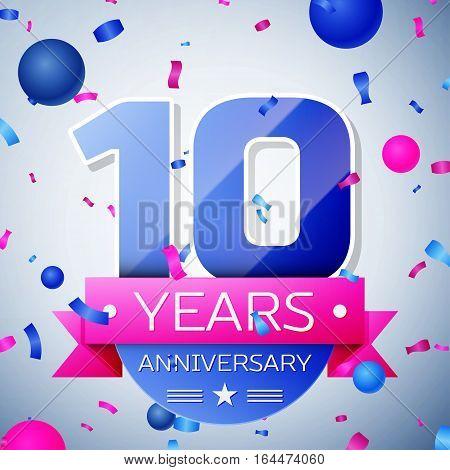 Ten years anniversary celebration on grey background. Anniversary ribbon