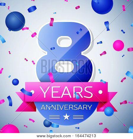 Eight years anniversary celebration on grey background. Anniversary ribbon