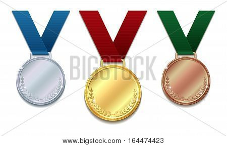 Set of gold, silver and bronze medals on red ribbon with laurel wreath. Concept of an award for victory winning first placement achievement or quality isolated on white background. Vector illustration