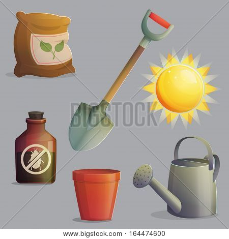 A collection of planting, gardening and agriculture equipment and accessories. Bright shining sun, spade for digging, anti-insect and fertilizer, flower pot. Game and app ui icons.