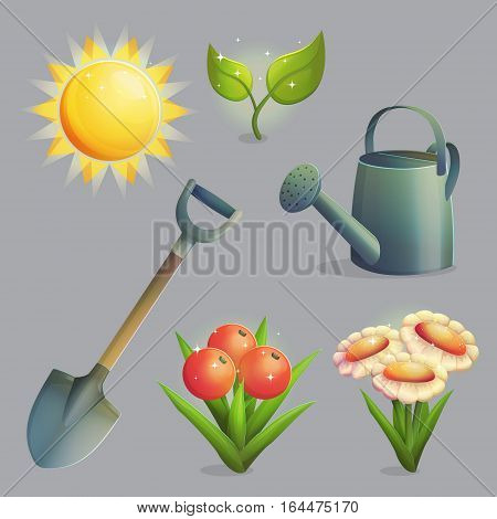 A collection of planting, gardening and agriculture equipment and plants. Bright shining sun, spade for digging, watering pot, daisies and fruit and berries. Game and app ui icons.