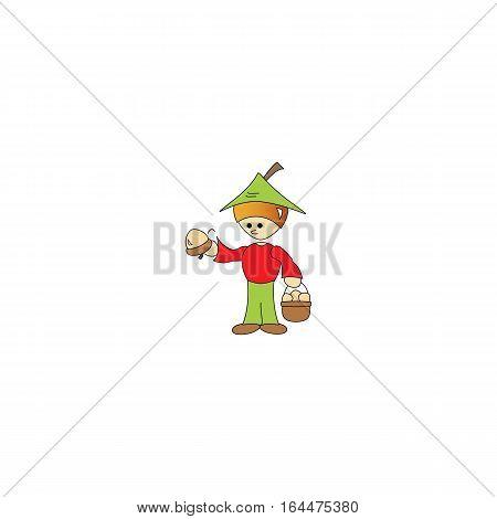 Cartoon style hazelnut boy isolated on a white background.