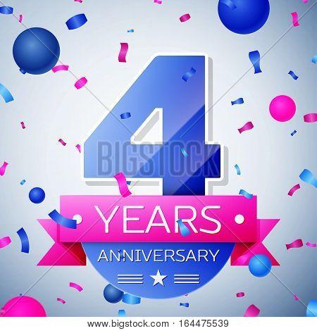 Four years anniversary celebration on grey background. Anniversary ribbon