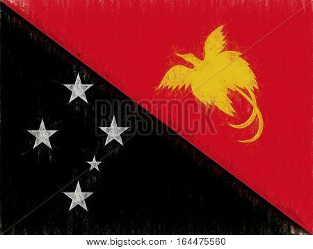 Illustration of the flag of Papua new Guinea with a grunge look
