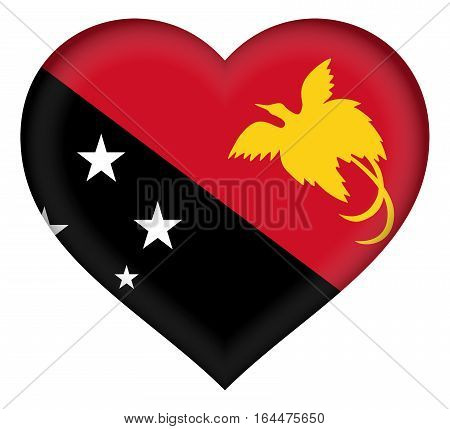 Illustration of the flag of Papua New Guinea shaped like a heart
