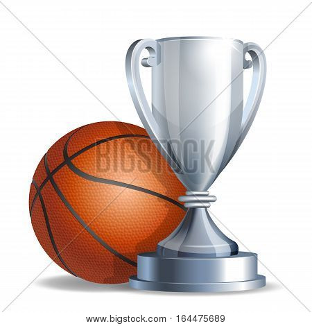 Silver trophy cup with a Basketball ball isolated on white background. Vector illustration