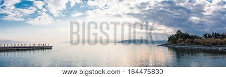 Sunset on Lake Kinneret near the town of Tiberias Israel