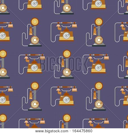 Vector illustration of communication devices seamless pattern. Retro vintage classic icons. Cell symbols silhouettes isolated. Flat style.