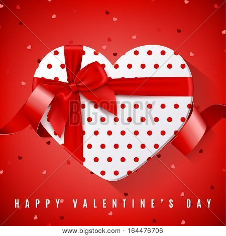 Happy Valentine's Day greeting banner. Top view on white gift box in the form of heart and red bow. Vector illustration with confetti and red tape.