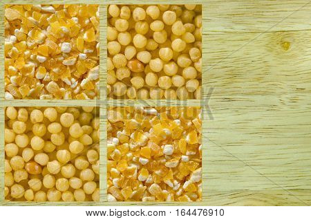 Collage consisting of millet and polenta. Food background. Healthy lifestyle concept. Yellow pattern. Closeup macro shot.