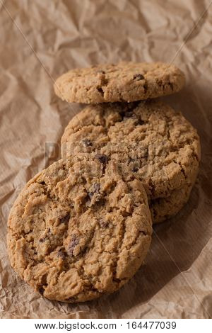 Cookies Pile With Chocolate Chip On Light Textile Background. Delicious Morning Snacks For Breakfast