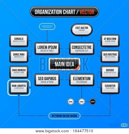 Corporate Business Organization Chart Template On Bright Blue Background. Useful For Presentations A