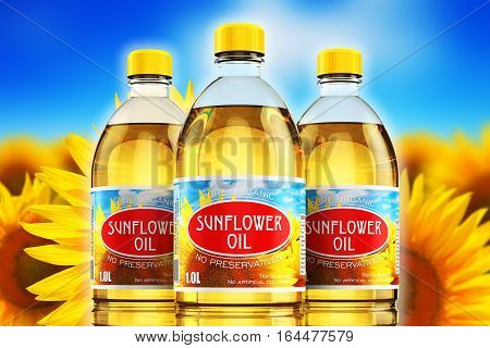 Creative abstract 3D render illustration of the group of three plastic bottles with yellow refined vegetable sunflower cooking oil or organic fat against sunflower field and blue sky with clouds with selective focus effect
