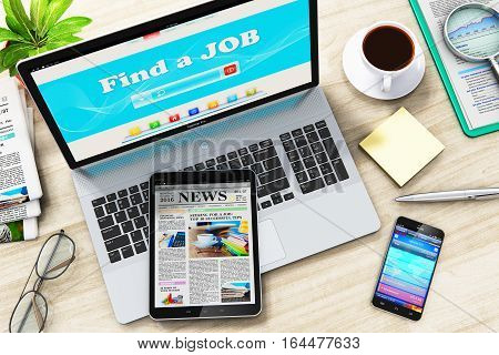 3D render illustration of the top view of laptop or notebook, tablet computer PC, smartphone or mobile phone, cup or mug of coffee, stack of newspapers, eyeglasses, financial report documents and pen on wooden office table
