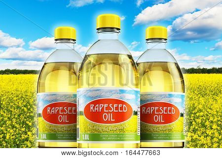Creative abstract 3D render illustration of the group of three plastic bottles with yellow refined vegetable rapeseed cooking oil or organic fat against rape seed flower field and blue sky with clouds with selective focus effect