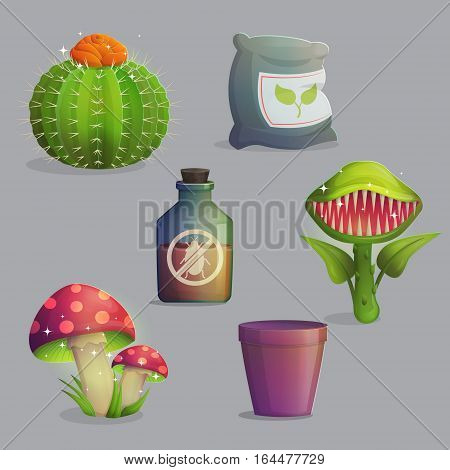 A set of magic fantasy alien plants and flowers. Mystery mushrooms and fruit, venus flytrap predator, cactus with flower and cute daffodils. Game and app ui icons.