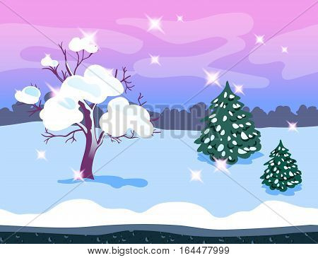 Seamless bright background made from separated layers. Winter landscape. Vector illustration for game design