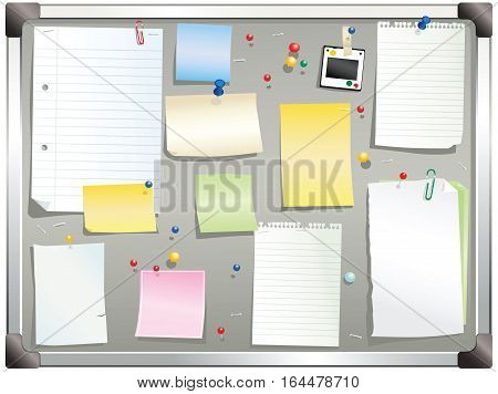 An illustration of a typical office cork board in gray. Plenty of blank space for your own message.
