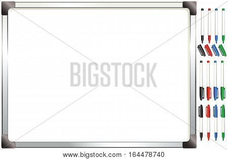 An image of typical wall mounted white board you can find in any office, plus marker pens.