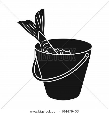 Fish in the bucket icon in black design isolated on white background. Fishing symbol stock vector illustration.