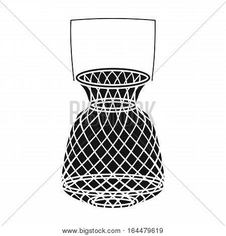 Fishing net icon in black design isolated on white background. Fishing symbol stock vector illustration.