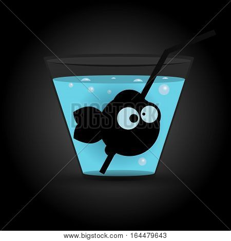 Fish in glass with blue drink or water. Vector illustration