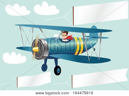 An image of an old fashioned biplane and various banners. Banners are blank for your own message.