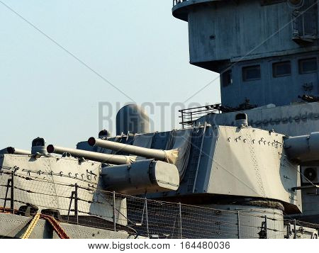 NOVOROSSIYSK, RUSSIA - August 3, 2016: Nasal, Paired cannon antiaircraft fire. Closeup. Cruiser