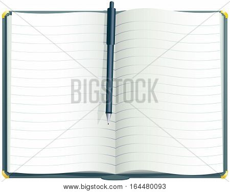 An illustration of a lined hard back desk journal. Plenty of blank space for your own message.