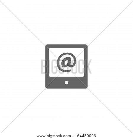 Grey internet icon isolated on a white background.