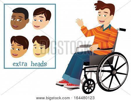 An illustration of a young boy in a wheelchair waving. Four different heads included which can replace original.