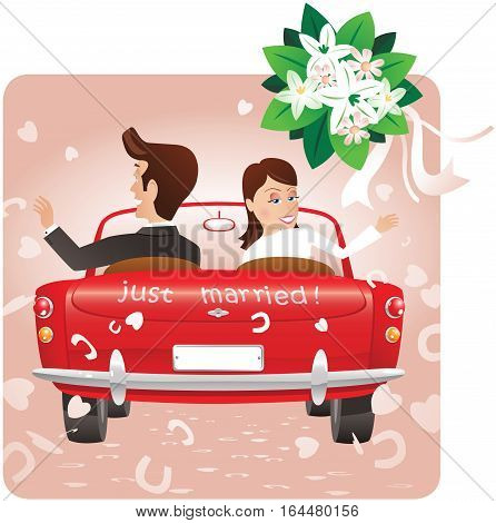 A just married couple driving away in an open top sports car and throwing a bouquet behind them.