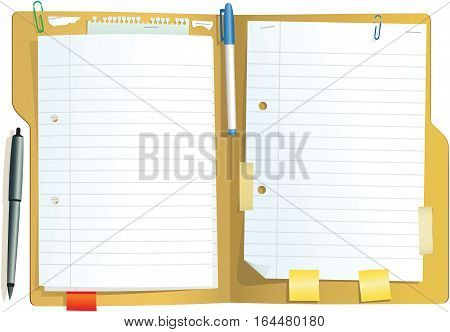 An illustration of a brown card document folder you might fight in any office. Plenty of blank space for your own message.