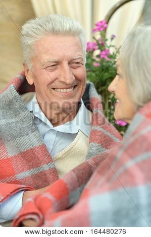 Happy Mature couple in the park in summer day