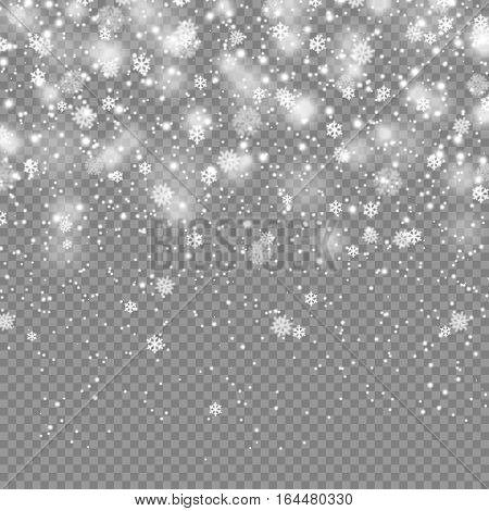 Vector illustration of falling snow on transparent background