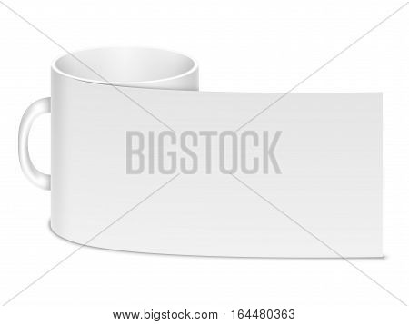Ceramic clean white mug isolated on a white background. Branding template or mockup