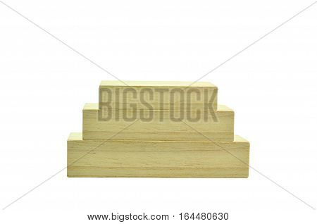 Stack of Rectangle wood blocks isolated business conception work evaluation.