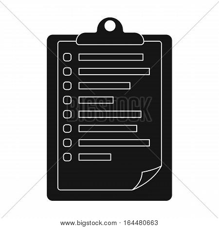 Veterinary pet health card icon in black design isolated on white background. Veterinary clinic symbol stock vector illustration.