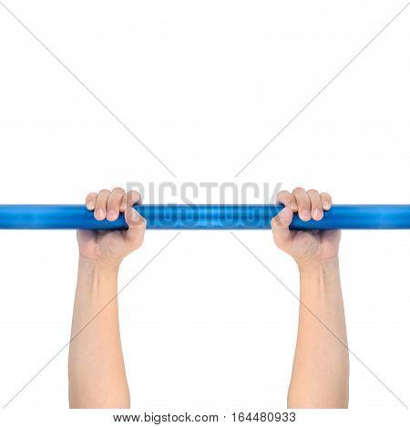 Man hands holding Node bar blue turquoise gymnastic isolate on white background.