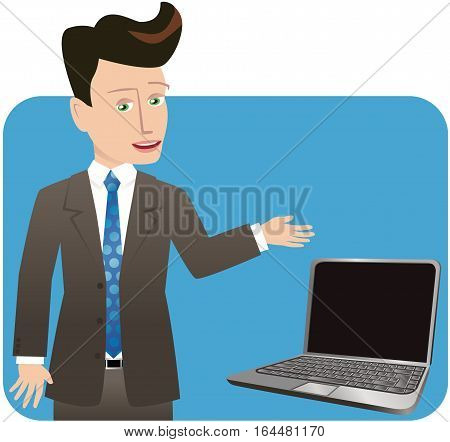 A young businessman gesturing to a blank laptop screen.
