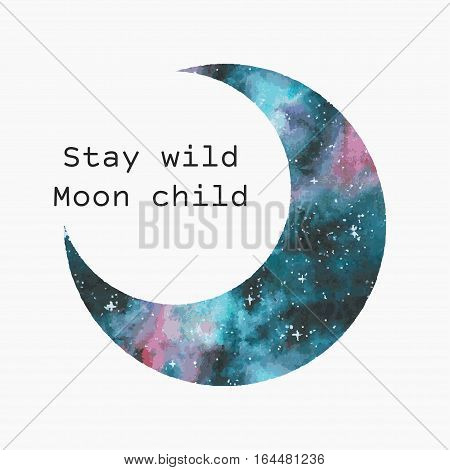 Watercolor moon silhouette with inspirational quote. Trendy vector print