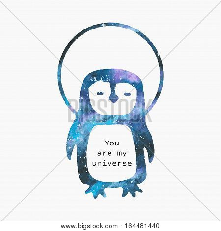 Watercolor penguin in outer space silhouette with romantic quote.