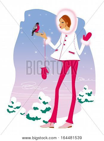 Pregnant woman in a white coat and red trousers nourishes seeds with bullfinch hands against the backdrop of snow-covered Christmas trees.